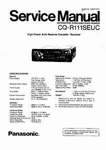 Panasonic Cq Rg153u Car Audio Service Manual Download