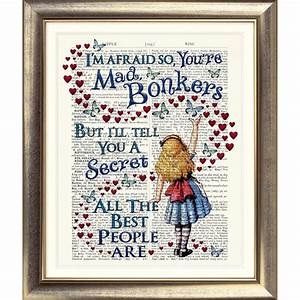DICTIONARY PAGE ART PRINT VINTAGE ANTIQUE BOOK Alice in