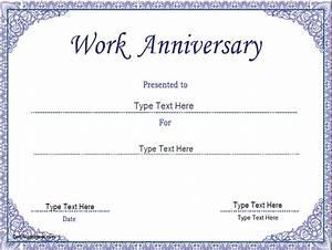 Business certificates work anniversary certificate template certificatestreetcom for Work anniversary certificate templates