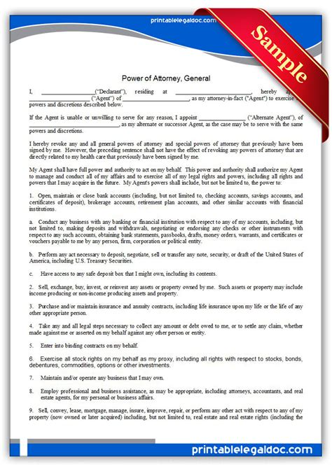 Free Printable Power Of Attorney, General Form (GENERIC