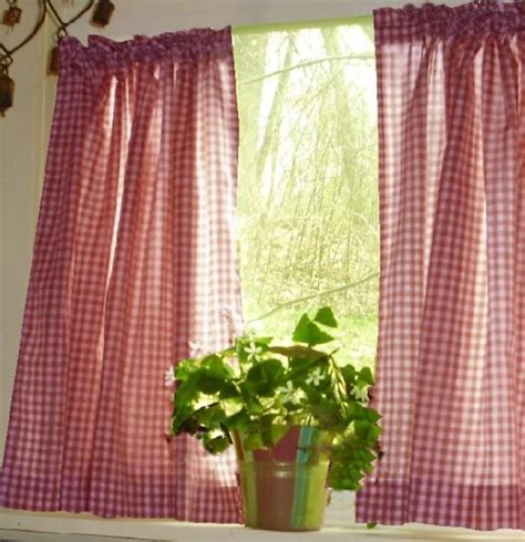 Red Gingham Kitchen/Café Curtain (unlined or with white or