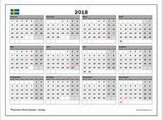 Kalendrar för att skriva ut 2018 Sverige
