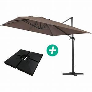 Parasol Déporté Aluminium : parasol jardin d port alu sun 4 rectangle 3 x 4 m taupe dalles incluses 1047 69137 ~ Teatrodelosmanantiales.com Idées de Décoration