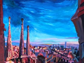 Barcelona City View And Sagrada Familia by M Bleichner