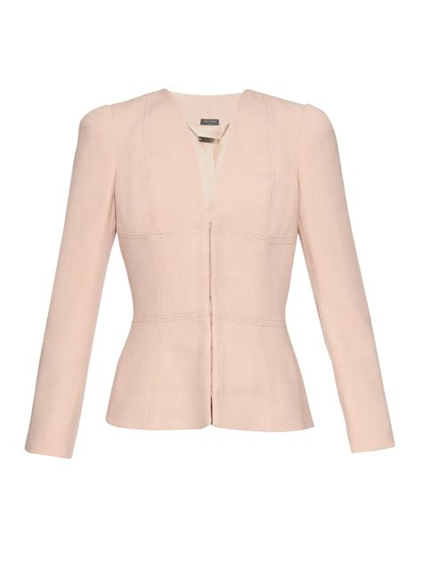 light pink jacket mcqueen v neck twill tailored jacket in pink lyst