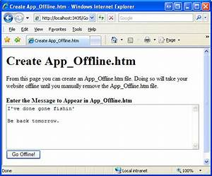 taking an aspnet 20 application offline 4guysfromrollacom With download document to go offline