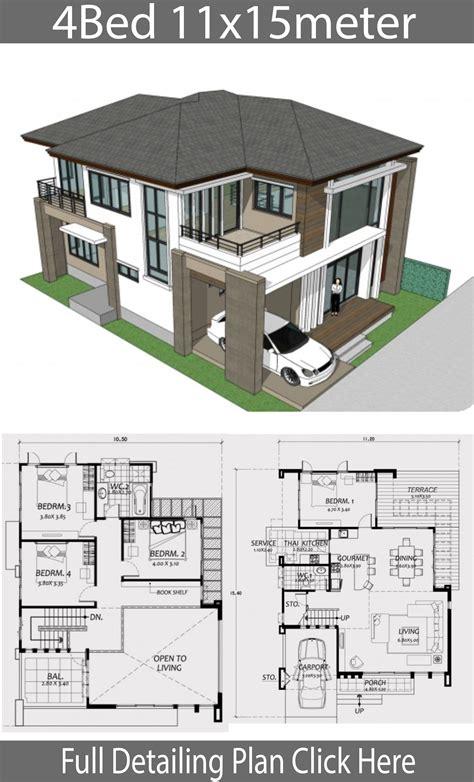 Home design 11x15m with 4 Bedrooms Duplex house design