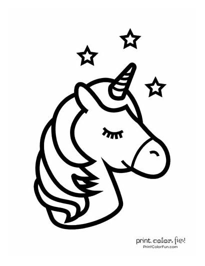 Unicorn Coloring Printable Pages Easy Magical Stars