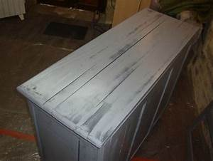Peinture Bois Effet Vieilli Gris : buffet deux portes patin gris kr ative d co ~ Voncanada.com Idées de Décoration