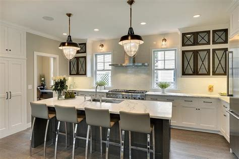 Modern Cottage Kitchen with Glass Front Cabinets