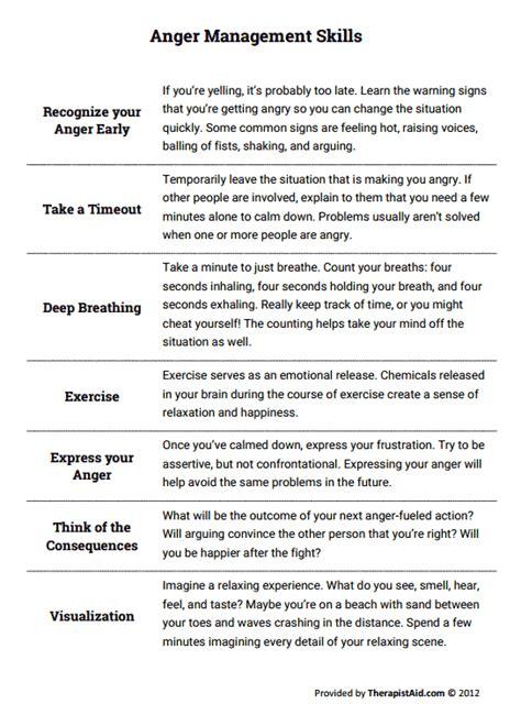 anger management skills worksheet therapist aid