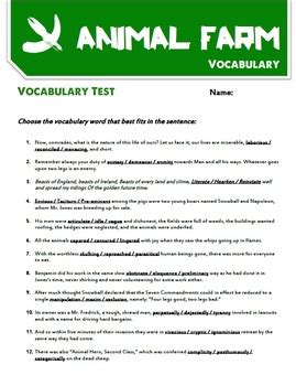 animal farm chapter summaries tests  vocabulary