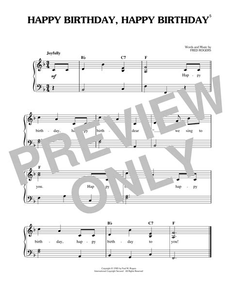 Watch the video and play these notes with your left hand while playing the melody with the thanks for checking out this happy birthday to you piano tutorial. Happy Birthday, Happy Birthday Sheet Music | Fred Rogers | Easy Piano