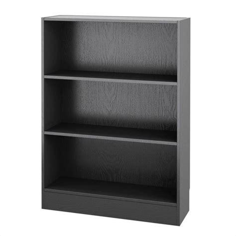 short wide  shelf bookcase  black wood grain