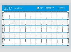 Yearly Wall Calendar Planner Template Stock Vector