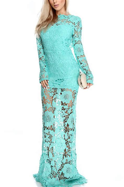 Light Blue Floral Lace Long Sleeve Backless Maxi Dress