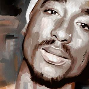 TUPAC SHAKUR 2pac cd poster portrait painting CANVAS ART ...