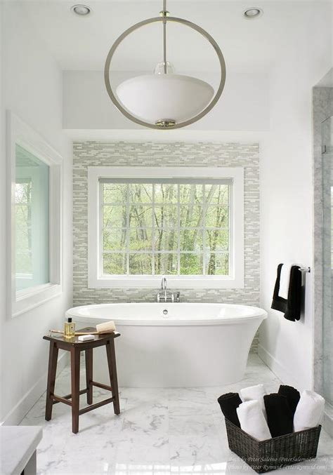 bathroom  gray glass tile accent wall contemporary