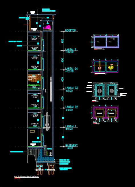 shaft elevator  autocad cad   mb bibliocad