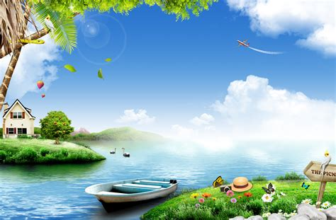 natural beauty   river boat green grass flowers