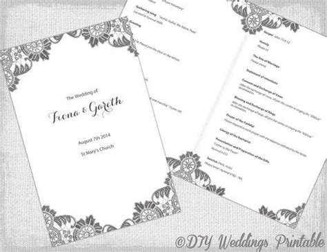 wedding program template booklet diy catholic wedding program template charcoal gray quot antique lace quot diy printable order of