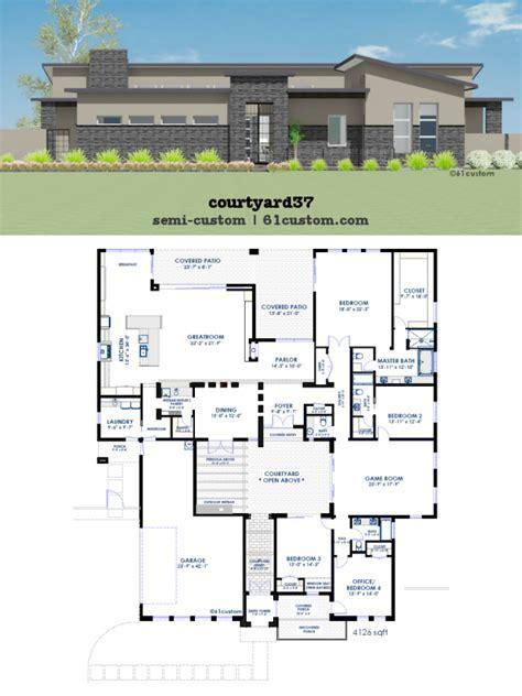 modern house floor plans free modern courtyard house plan 61custom contemporary