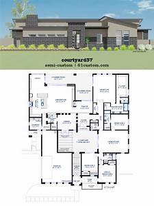 Modern, Courtyard, House, Plan