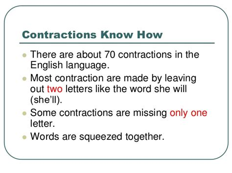 Contraction Lesson