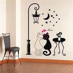 aliexpresscom buy 2016 cut black couple cat wall With stickers muraux design decoration