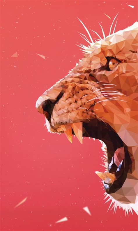 wallpaper lioness aggressive triangles  poly hd