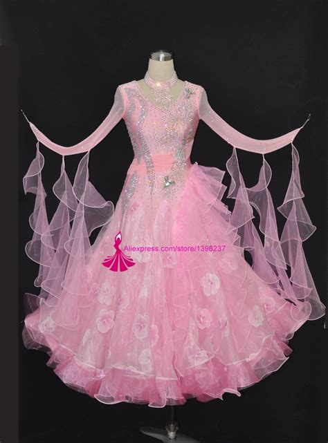 ballroom competition dance dress adults customized pink