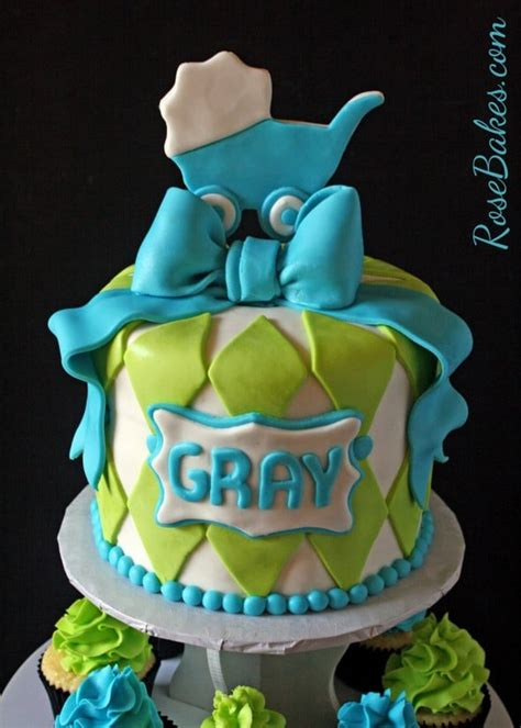 turquoise lime green baby shower cake  cupcake tower