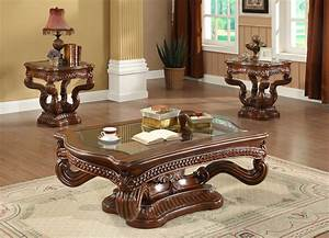 homey design hd 8003 3 pc royal coffee table set With coffee table and end tables set for sale
