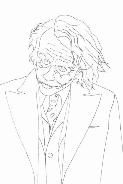Joker Heath Ledger Drawing Simple Easy Coloring