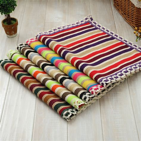 Cotton Woven Rug Handmade Doormat Kids Children Rug With
