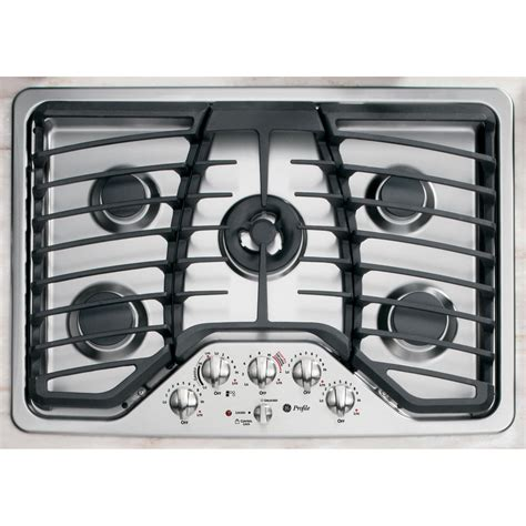 stainless steel gas cooktop ge profile pgp959setss 30 quot stainless steel gas cooktop