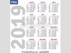 French calendar 2019, vertical calendar grid, vector