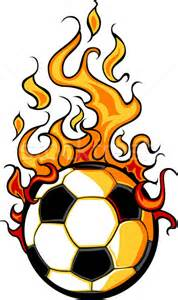 Cartoon Soccer Ball On Fire