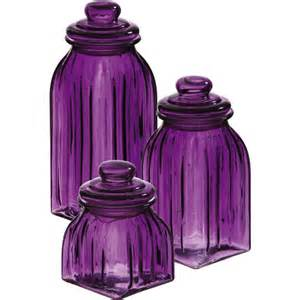 purple canister set kitchen purple glass jars 3pc canisters kitchen decor storage violet home accent