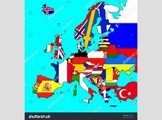 Map Europe All Countries Borders Flags Stock Illustration
