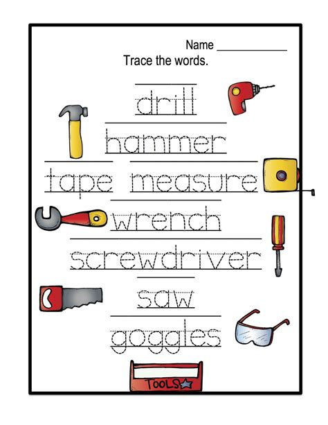 word tools name trace worksheet as writing devise kiddo shelter