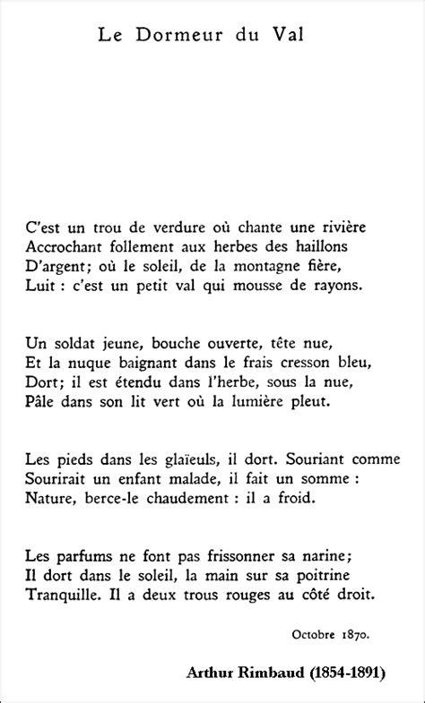 Le Dormeur Du Val Rimbaud by Arthur Rimbaud Le Dormeur Du Val Po 233 Sie
