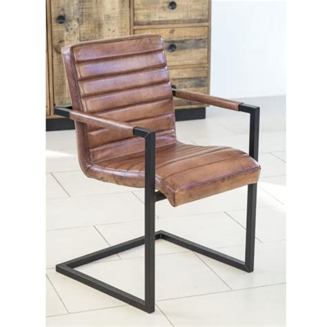 Leather Dining Armchair by Buy Benson Brown Leather Dining Chair Metal Frame