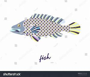 Abstract Fish Illustration On White Background Stock ...