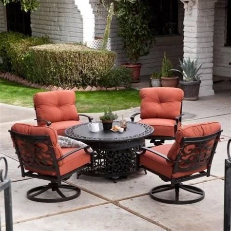 5 patio lounge dining set with gas pit outdoor