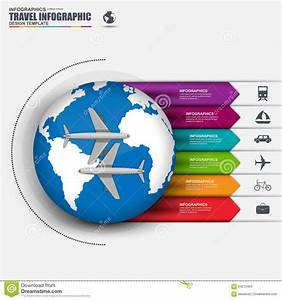Travel Infographic With Vector World Map Stock Vector