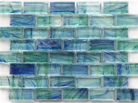green glass tile mirabelle glass tile aqua blue green brick pattern glass