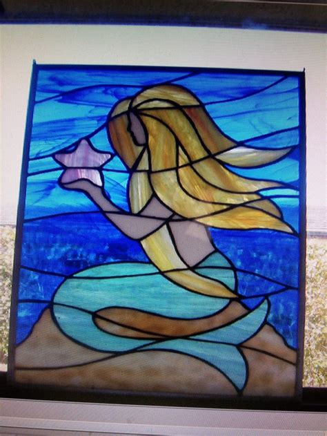 mermaid    stain glass art piece  glass stain glass art stained glass