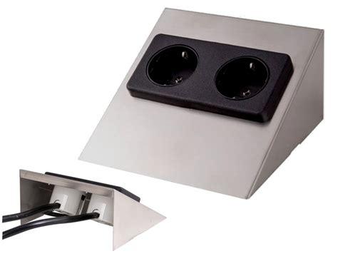 Aufbau Steckdose 2-fach Edelstahl Aufputz Unterbau Tisch