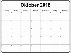 Kalender 2018 Oktober Vorlage Frei Design